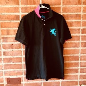 Black Polo with vibrant blue and pink detailing